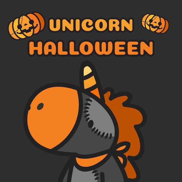 Хэллоуин костюм единорога и тыквы летать. Premium векторы