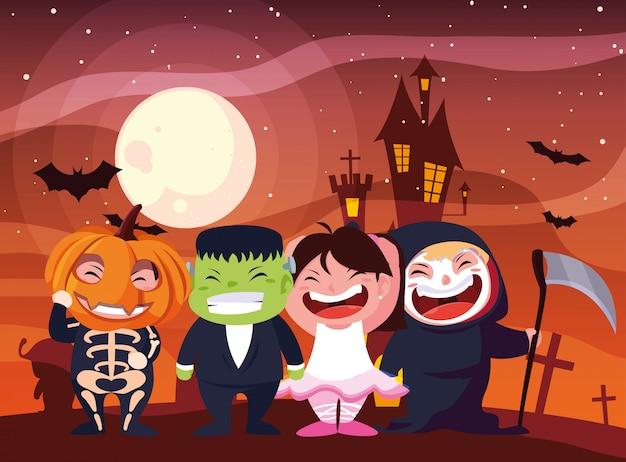 Хэллоуин в костюмированных детях Premium векторы