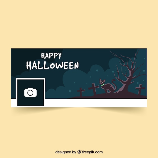 Halloween cover with cat in the cemetery Free Vector