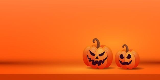 紫色の背景に2つのオレンジ色の怖いカボチャとハロウィーンの創造的なバナー。テキストの場所。 Premiumベクター