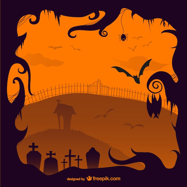 halloween creepy cemetery illustration free vector - Download Halloween Pictures Free