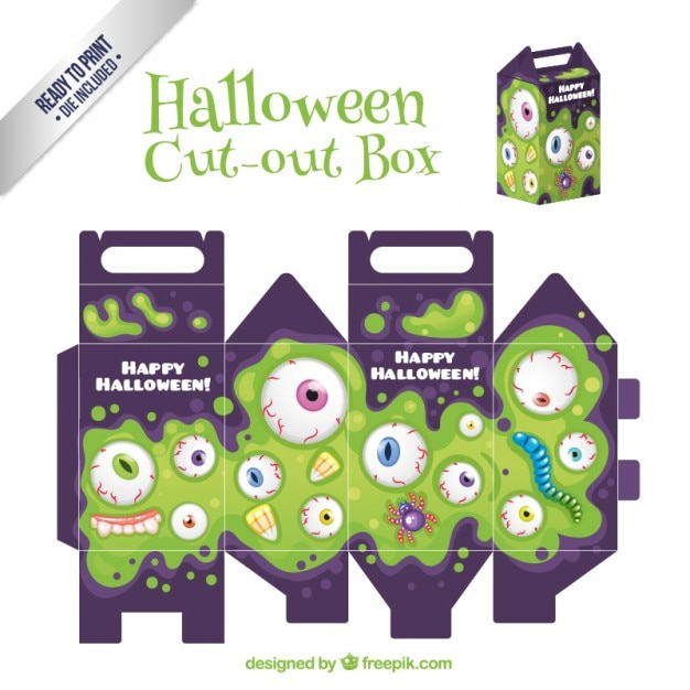 Halloween cut ot box Free Vector