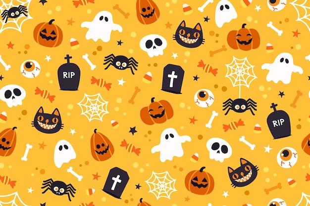 Cute Halloween Backgrounds.Premium Vector Halloween Cute Pattern Background