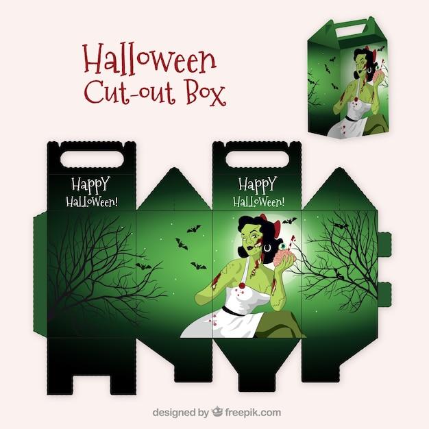 Halloween cutout box Free Vector