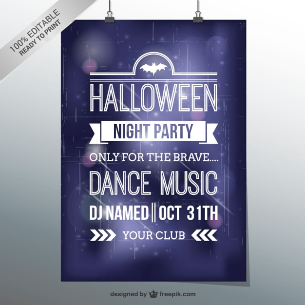 halloween dance party flyer template vector free download