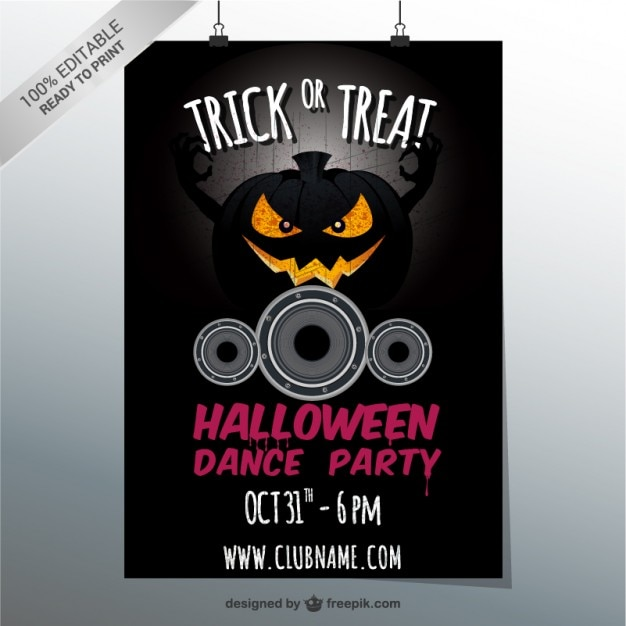 Halloween Dance Party Flyer With Pumpkin Vector Free Download