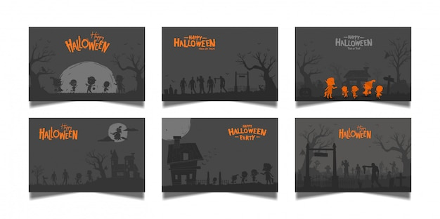 Halloween dark card set Premium Vector