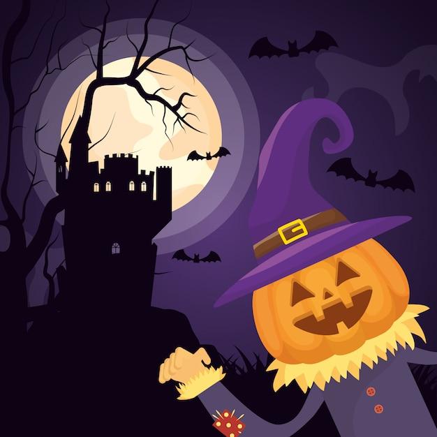 Halloween dark castle with pumpkin character Free Vector