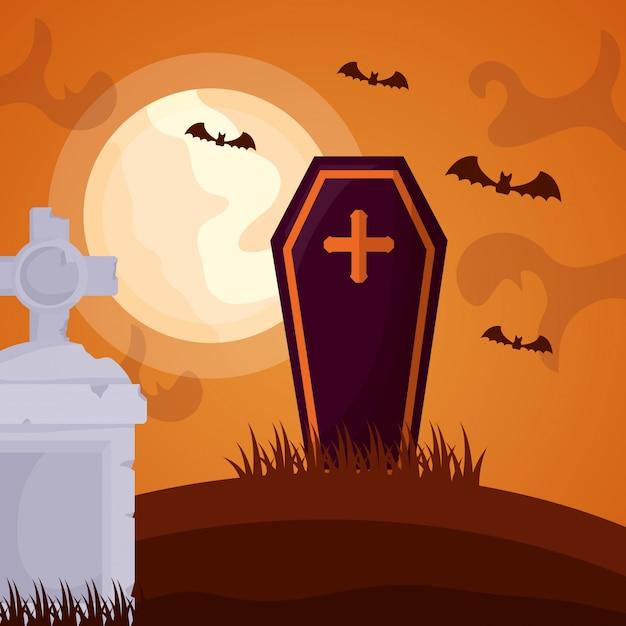 Halloween dark cemetery with coffin Free Vector