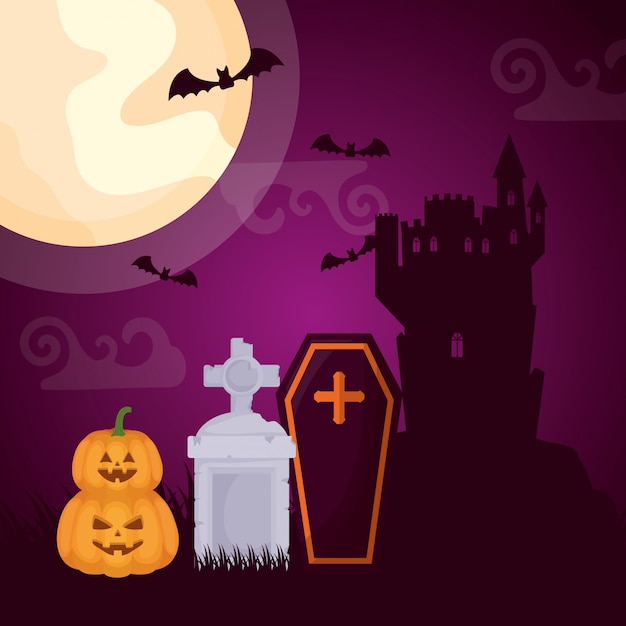Halloween dark cemetery with coffin Free Vector