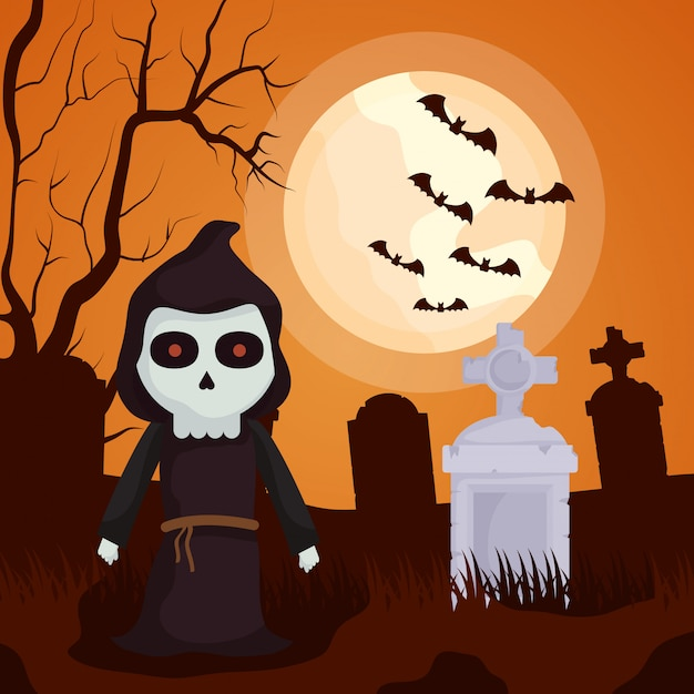 Halloween dark cemetery with death character Free Vector