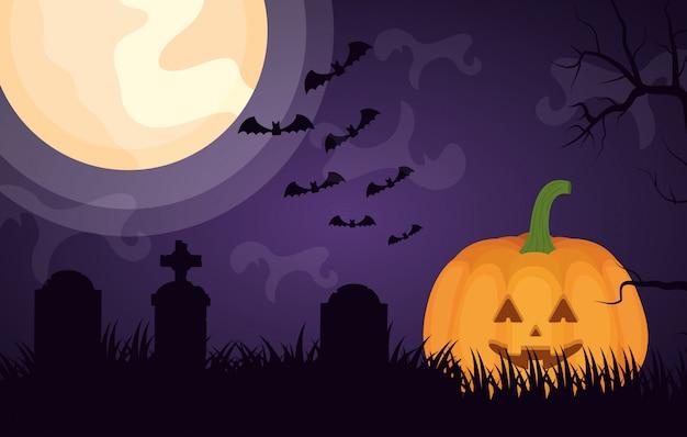 Halloween dark cemetery with pumpkin Free Vector