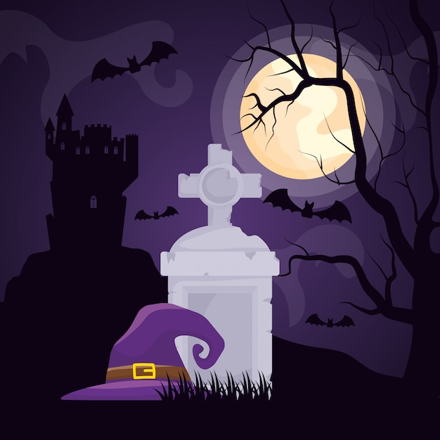 Halloween dark cemetery with witch hat Free Vector