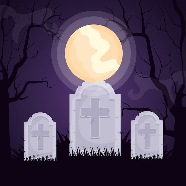 Halloween dark cemetery Free Vector