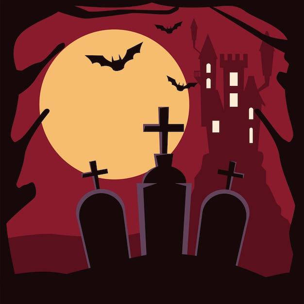 Halloween dark haunted castle in cemetery scene Premium Vector