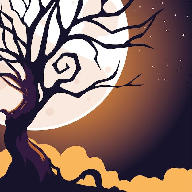 ハロウィーンの暗い夜の背景に満月と怖い木。 Premiumベクター