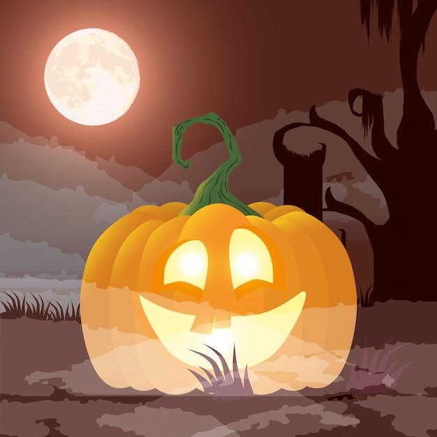 Halloween dark night scene with pumpkin Free Vector