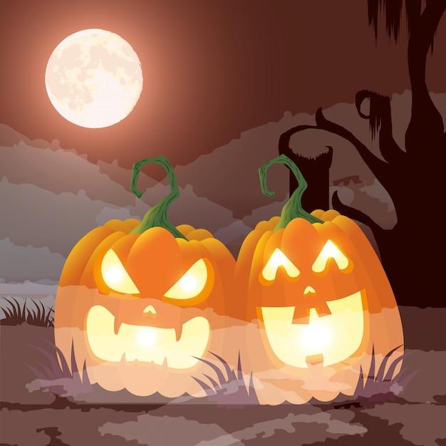 Halloween dark night scene with pumpkins Free Vector