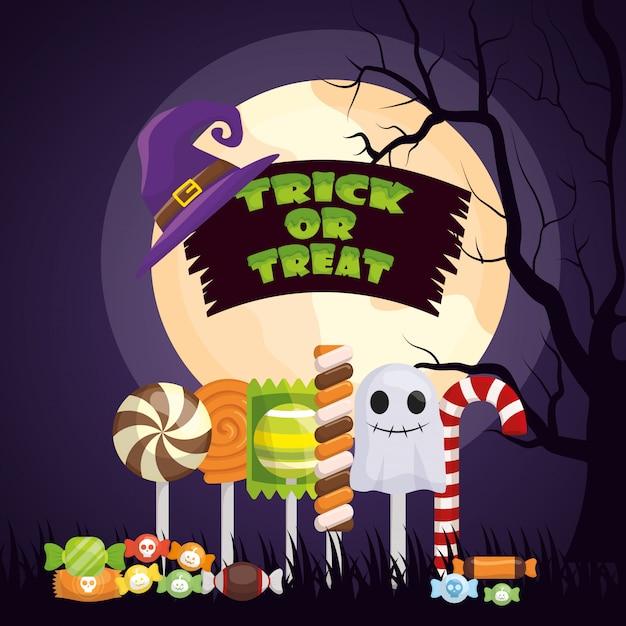 Halloween dark night with set candies Free Vector