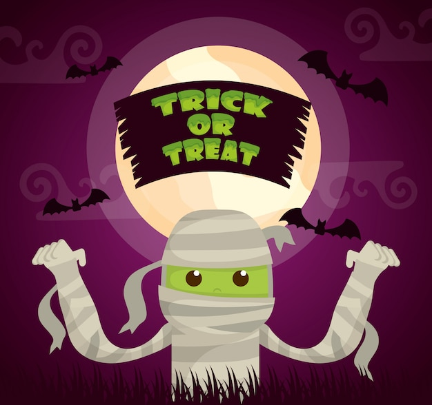 Halloween dark with mummy character Free Vector