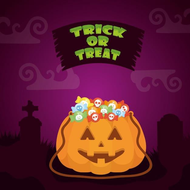 Halloween dark with pumpkin and candies Free Vector