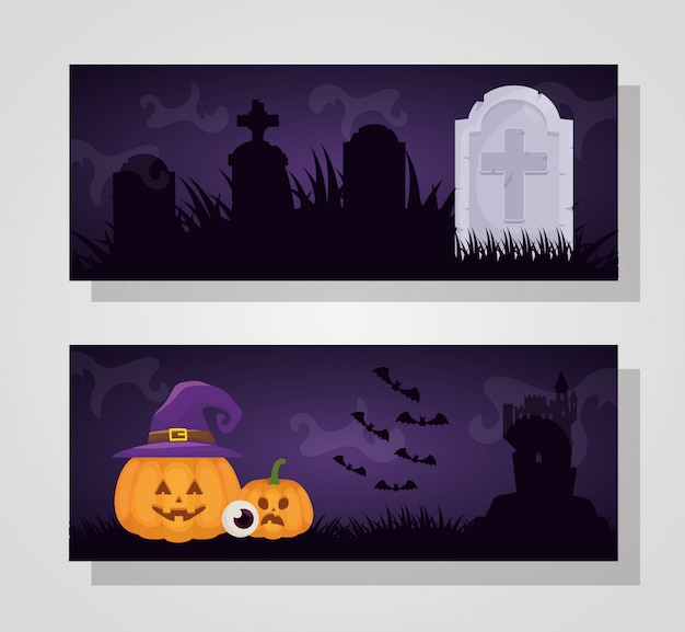 Halloween dark with pumpkin and witch hat Free Vector