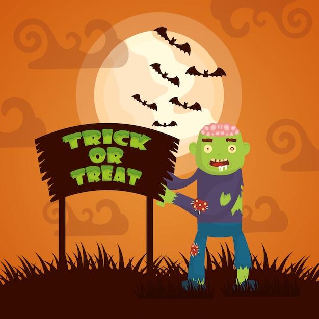 Halloween dark with zombie character Free Vector