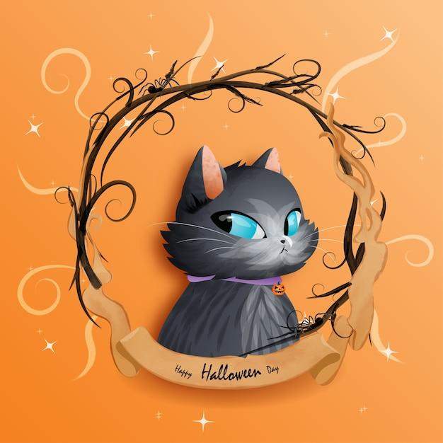 할로윈 데이와 검은 고양이. 프리미엄 벡터
