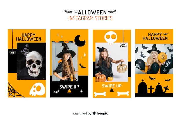 Halloween decor and costumes for instagram stories Free Vector