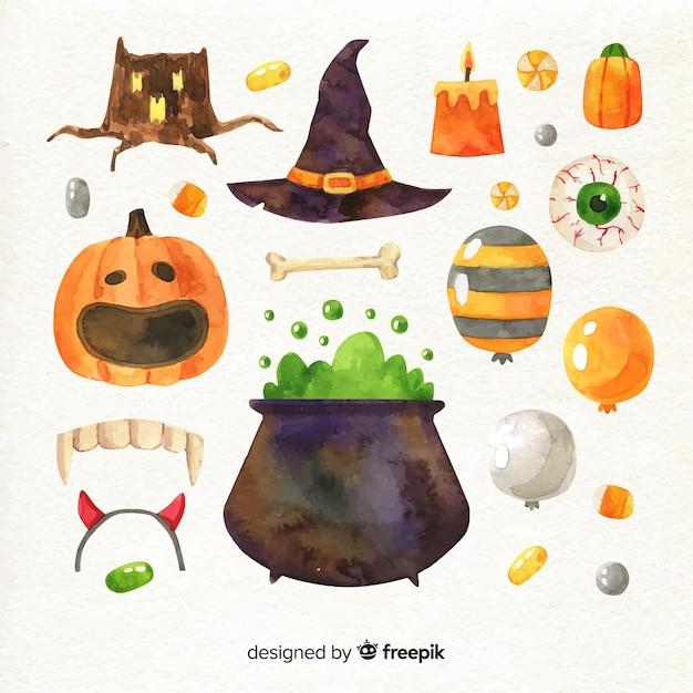 Halloween decoration collection in watercolour Free Vector