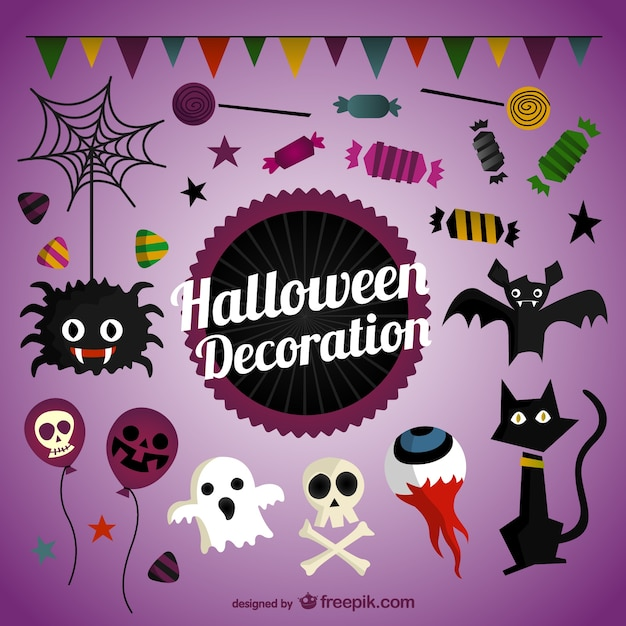 Halloween decoration pack Free Vector