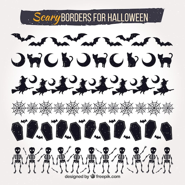 Halloween decorative borders set Free Vector