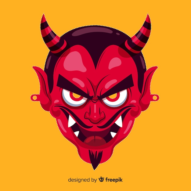 Halloween demon mask in flat design