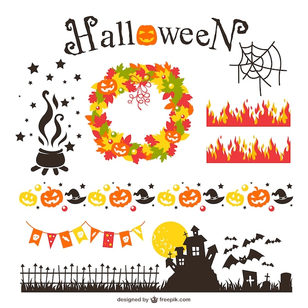 Halloween design elements pack Free Vector