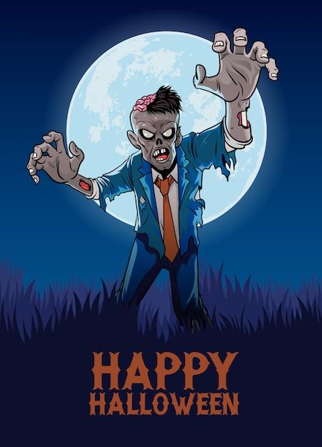 Halloween design with zombie in cartoon style Premium Vector