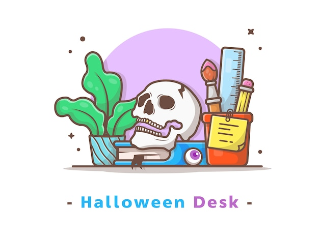 Halloween desk with skull, book, and plant vector illustration Premium Vector