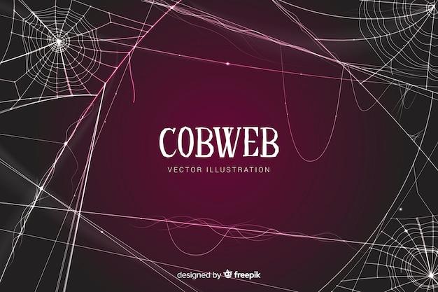 Halloween detailed cobweb background Free Vector
