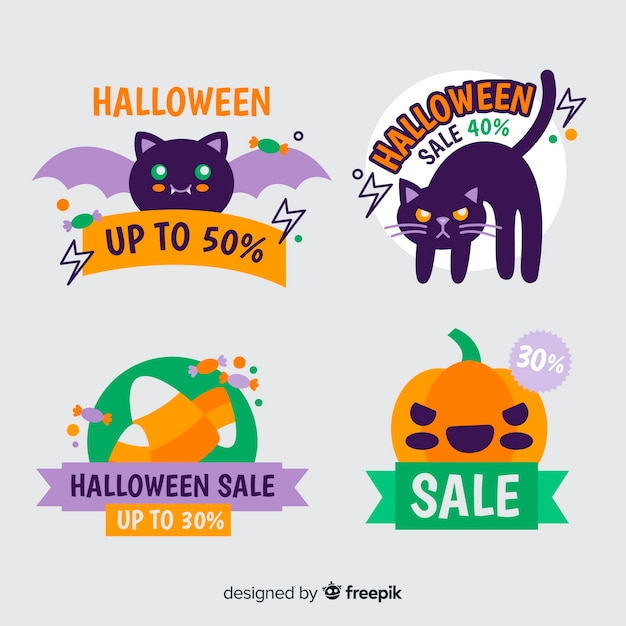 Halloween discount badge collection Free Vector