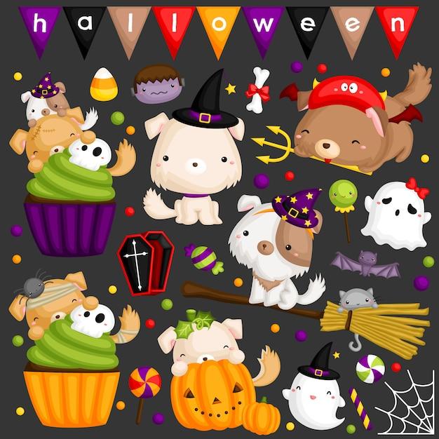 Halloween dog image set Premium Vector