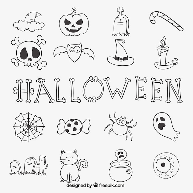 halloween doodle collection vector free download