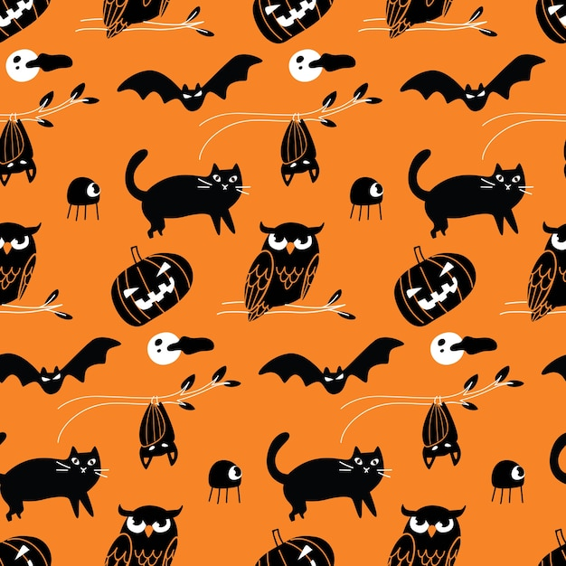 Halloween doodle seamless background Premium Vector