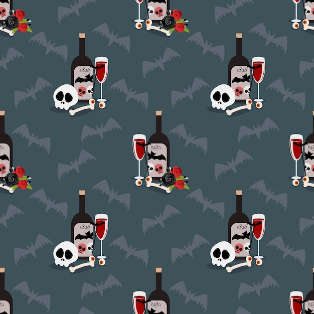 Halloween drink seamless pattern. Premium Vector
