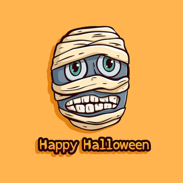 Halloween egypt mummy with funny expression on orange background Premium Vector