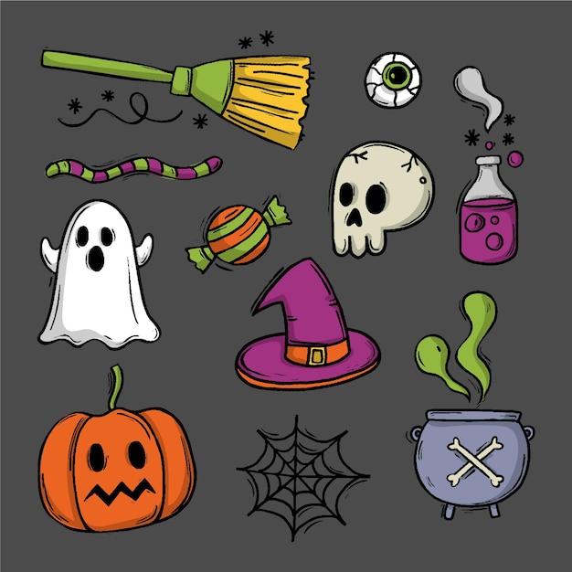 Disegno di raccolta di elementi di halloween Vettore gratuito