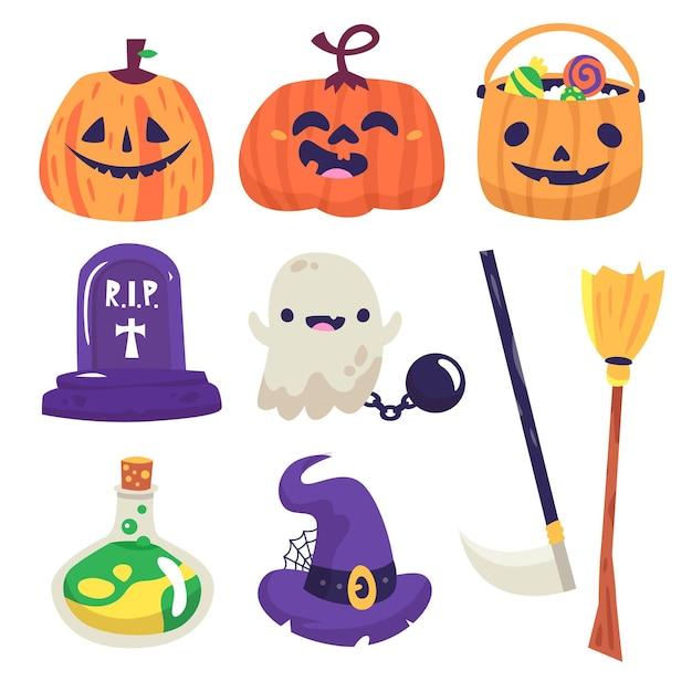 Collezione di elementi di halloween Vettore gratuito