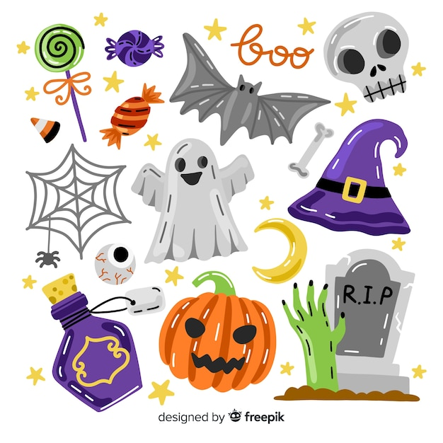 Halloween element collection with spooky accessories Free Vector