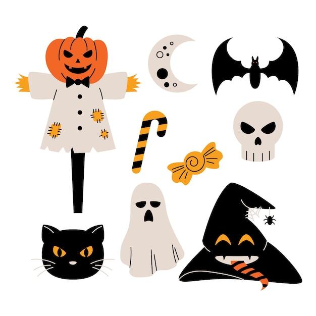 Коллекция элементов хэллоуина Бесплатные векторы