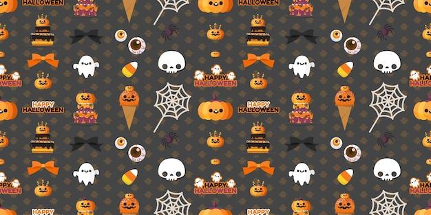 Halloween element seamless pattern. Premium Vector