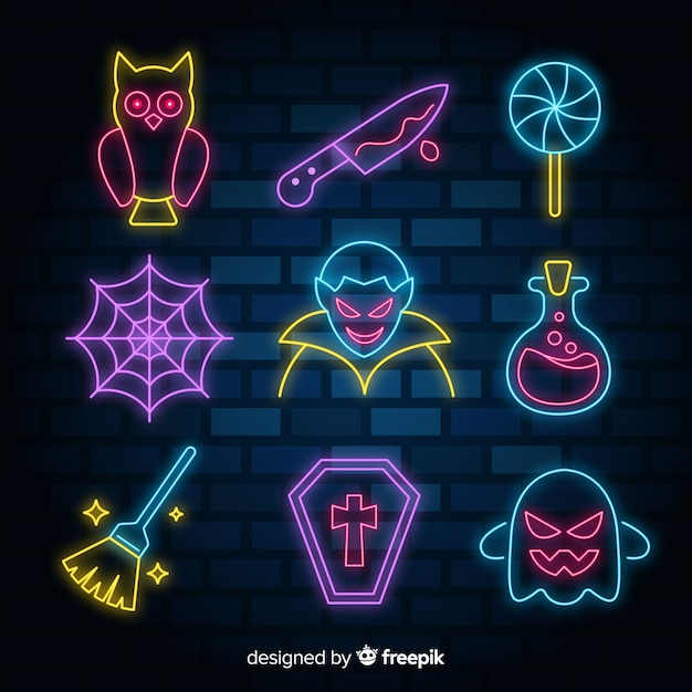Halloween element with neon sign collection Free Vector