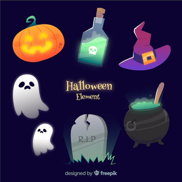 Halloween elements collection in flat design Free Vector